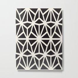 black & white geometric pattern middle eastern Moroccan art deco pattern Metal Print