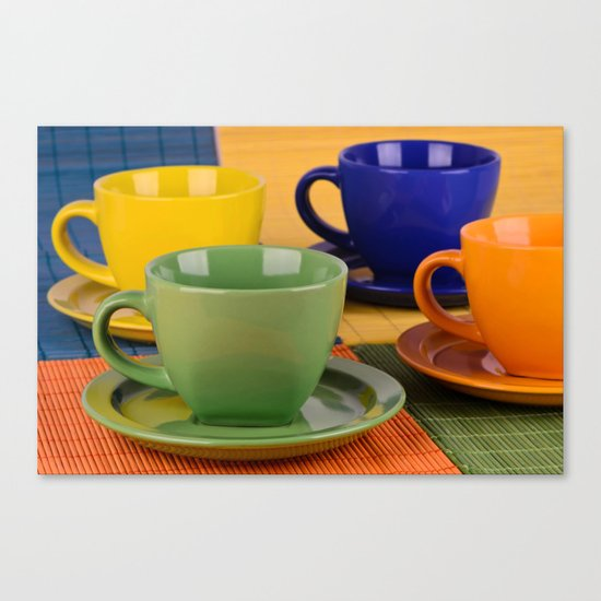 Colorful tea cups Canvas Print