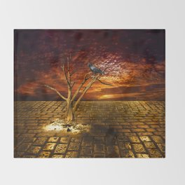 Einsamer Rabe - Lonely raven Throw Blanket