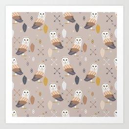 Barn Owls Tribal Pattern Art Print