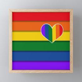 LGBTQ+ Heart Flag Framed Mini Art Print
