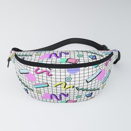 80s Retro Party Grid Design (White BG) Fanny Pack