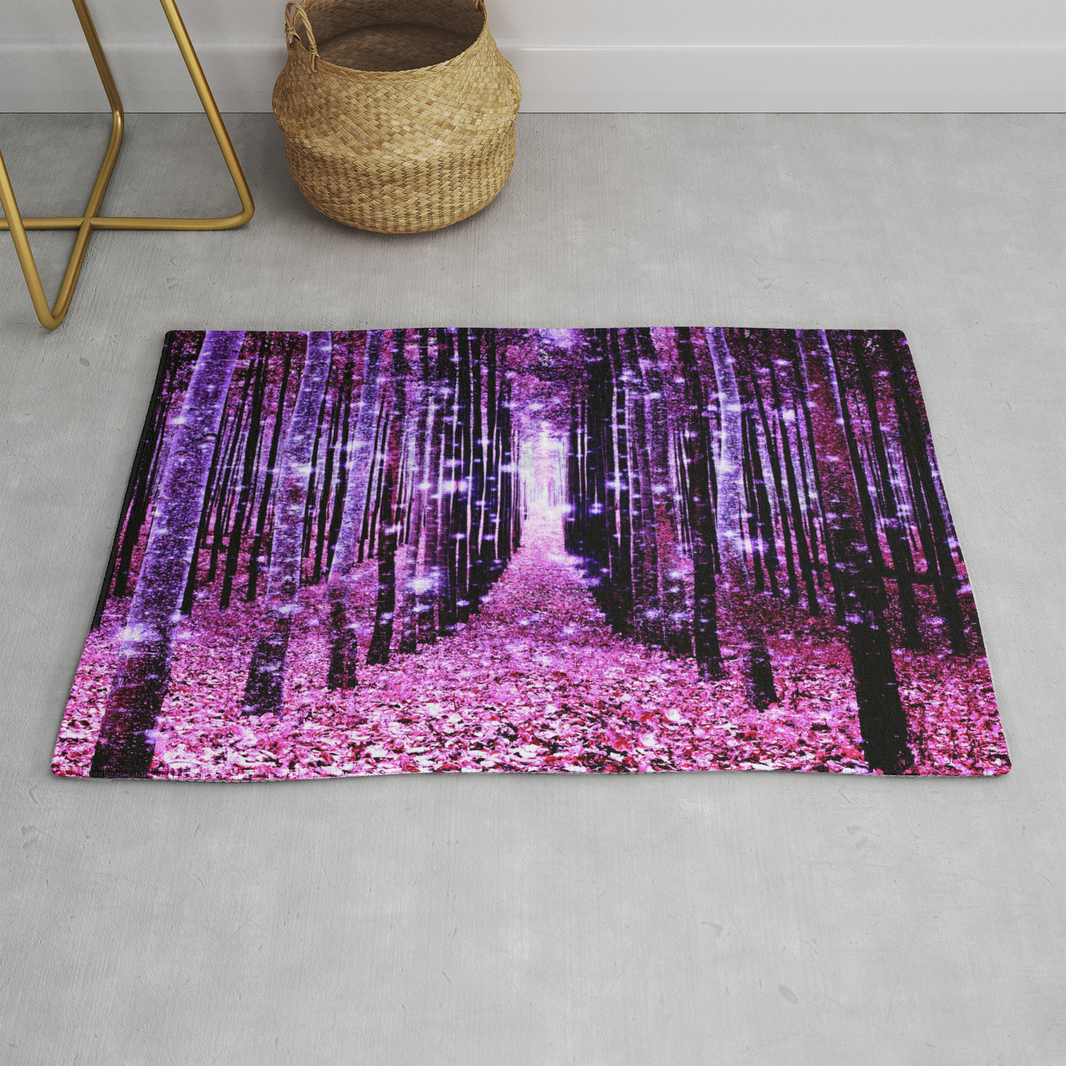 Magical Forest Pink Purple Rug By