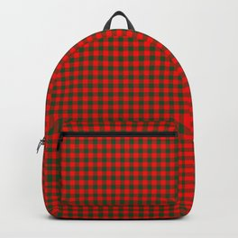 Tiny Holly Red and Balsam Green Christmas Country Cabin Buffalo Check Backpack