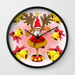 Reindeer Fun Christmas Cartoon with Bells Alarms Wall Clock