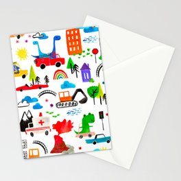 Dinosaur City Watercolor Transportation Pattern Stationery Cards