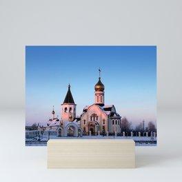 Russian Orthodox church in winter Mini Art Print