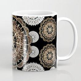 Black, Silver, and Rose-Gold Mandala Patterned Textile Coffee Mug