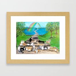 Rainbow Bridge Cats and dogs Framed Art Print