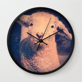Innocence (Smiling White Baby Sheep) Wall Clock