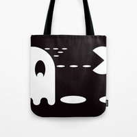 pac man Tote Bags featuring PAC MAN by MISTER BLACKWHITE