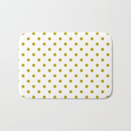 White and Gold Polka Dots Bath Mat