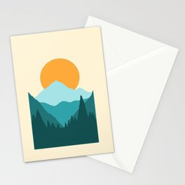 Blue Mountain Forest Sunrise Stationery Cards
