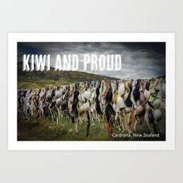 Kiwi and proud - Cardrona Bra Fence Art Print