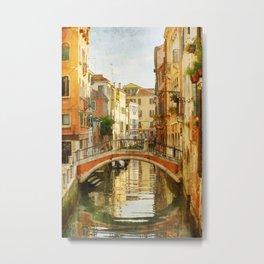 On a Venetian Canal Metal Print