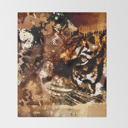 Bengal Tiger in  Abstract Paint Digital art Throw Blanket