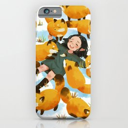 Snuggles with foxes iPhone Case