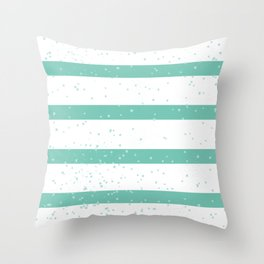 Summery sailor stripes light blue and white pattern with splatter Throw Pillow