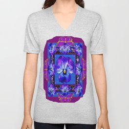 Purple Pansy & Butterflies Melody Abstract Unisex V-Neck