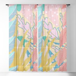 Modern Jungle Plants - Bright Pastels Sheer Curtain