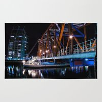 detroit Area & Throw Rugs featuring Detroit Bridge by Fotomus-Digital