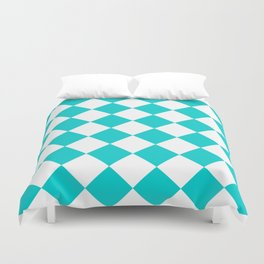 Large Diamonds - White and Cyan Duvet Cover