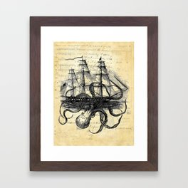 Kraken Octopus Attacking Ship Multi Collage Background Framed Art Print