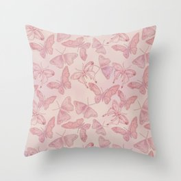 Butterfly Pattern soft pink pastel Throw Pillow