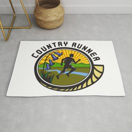 Cross Country Runner Text Oval Retro Rug