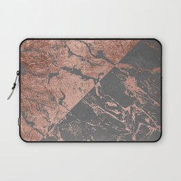 Modern rose gold marble inverted color block grey cement concrete Laptop Sleeve