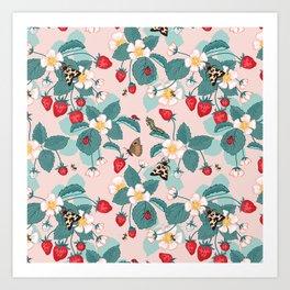 Strawberry Patch Pattern Art Print