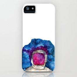 man in galaxy space watercolor painting  iPhone Case