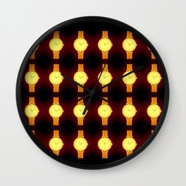 Luminous Wristwatches on Black Illustration Wall Clock