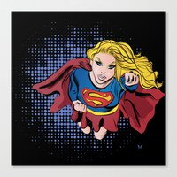 supergirl Canvas Prints featuring Supergirl by WaterFly Studio