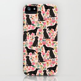 Flat Coated Retriever dog breed pet art dog floral pattern gifts for dog lover pet friendly iPhone Case