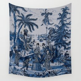 17th Century Delftware Chinoiserie Wall Tapestry