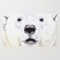 polar bear Area & Throw Rugs featuring Polar Bear by StudioBlueRoom