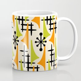 Mid Century Modern Atomic Wing Composition Orange and Chartreuse Coffee Mug