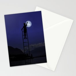Boy and moon Montreux Switzerland Stationery Cards