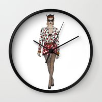 moschino Wall Clocks featuring Moschino fashion illustration roses  by Cinnamoncafexx