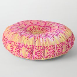 Sun Kissed Mandala Orange Pink Floor Pillow