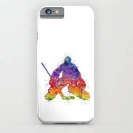 Ice Hockey Boy Goalie Colorful Watercolor iPhone Case