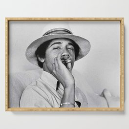 Young Barack Obama Smoking Weed Serving Tray