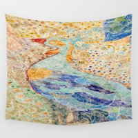 return Wall Tapestries featuring Return Of Feathery Dreams by Anannya Chowdhury