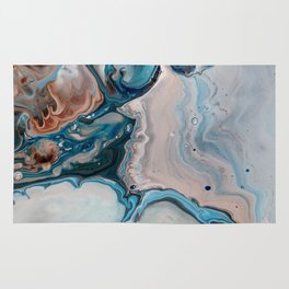 Blue Abstract Acrylic Painting - Fluid Technique  - Close-Up Rug