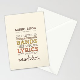 Mumbling Bands — Music Snob Tip #095 Stationery Cards
