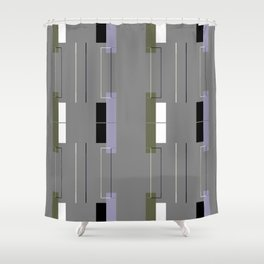 White Hairline Gray Squares Shower Curtain