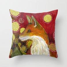 Fox Listens Throw Pillow