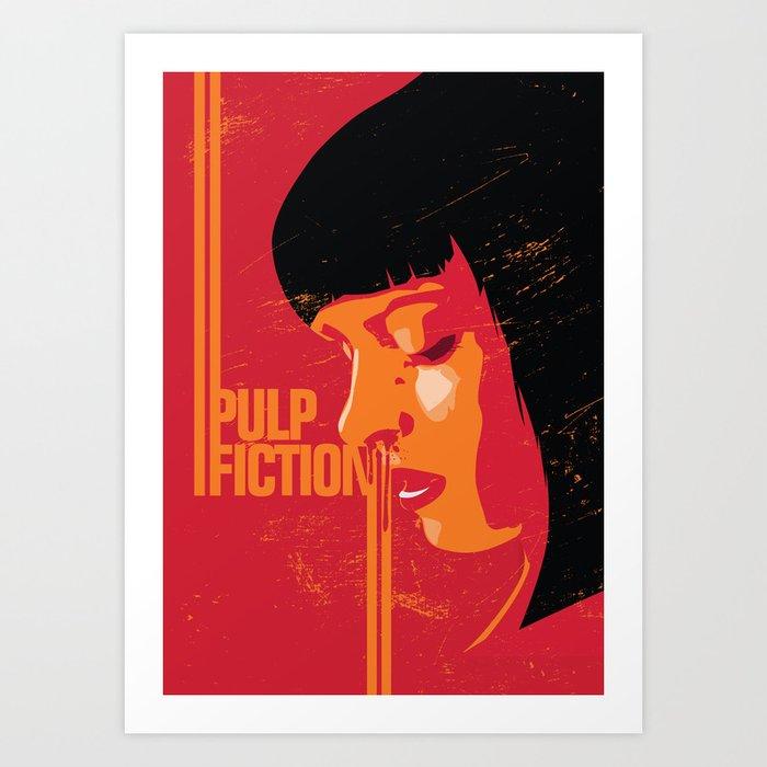 Mia Wallace Pulp Fiction Poster Art Print Movie Show Minimalistic Illustration
