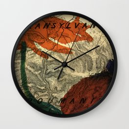 Vintage Made Modern: Transylvania Roumania Map Collaged with Flowers Wall Clock